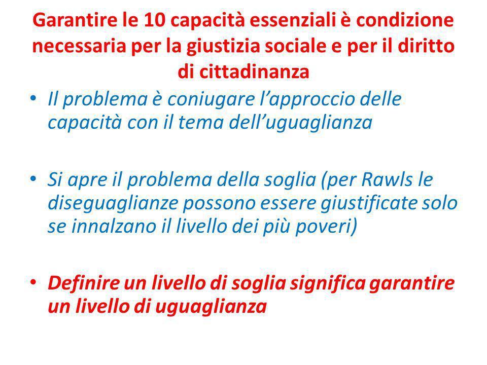 Garantire le 10 capacità essenziali è condizione necessaria per la giustizia sociale e per il diritto di cittadinanza