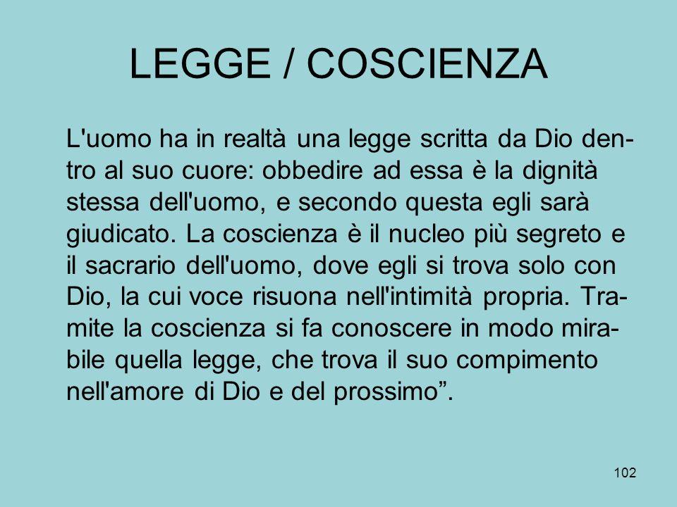LEGGE / COSCIENZA