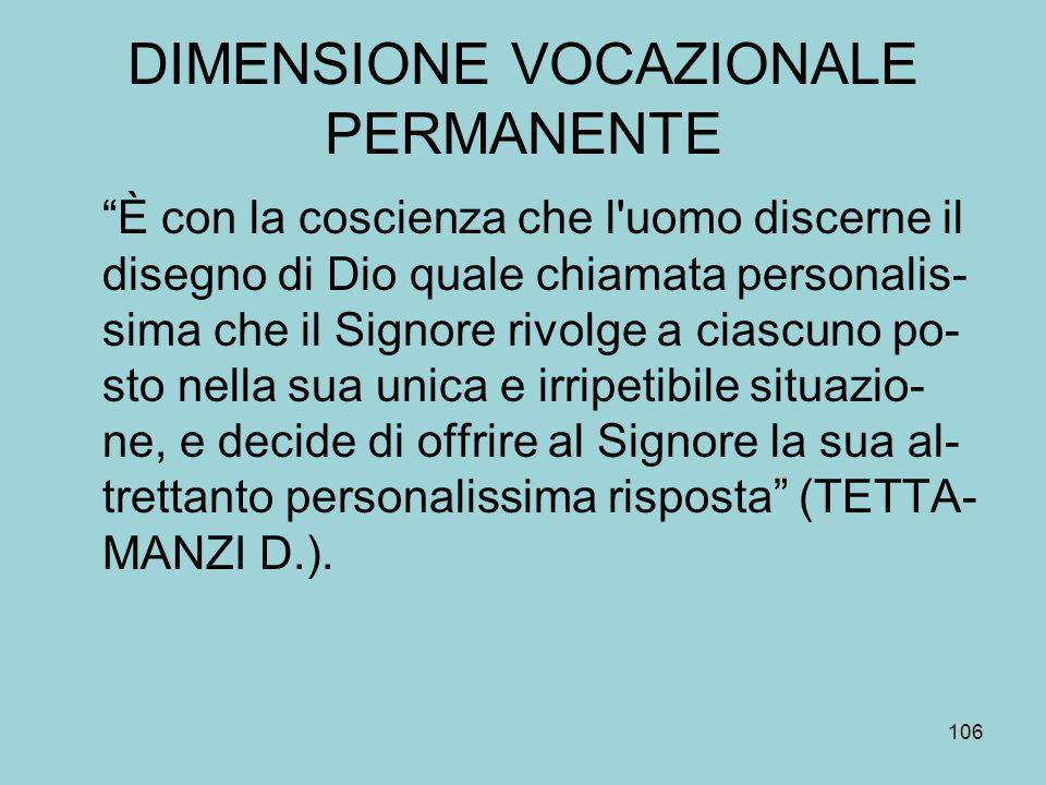 DIMENSIONE VOCAZIONALE PERMANENTE