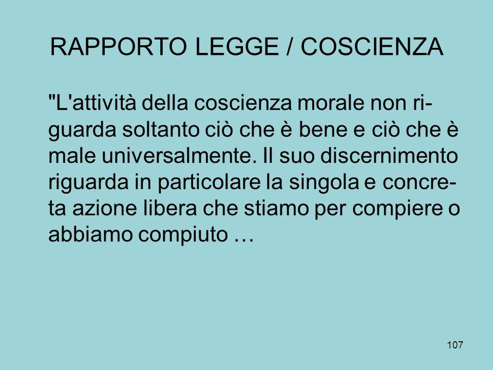 RAPPORTO LEGGE / COSCIENZA