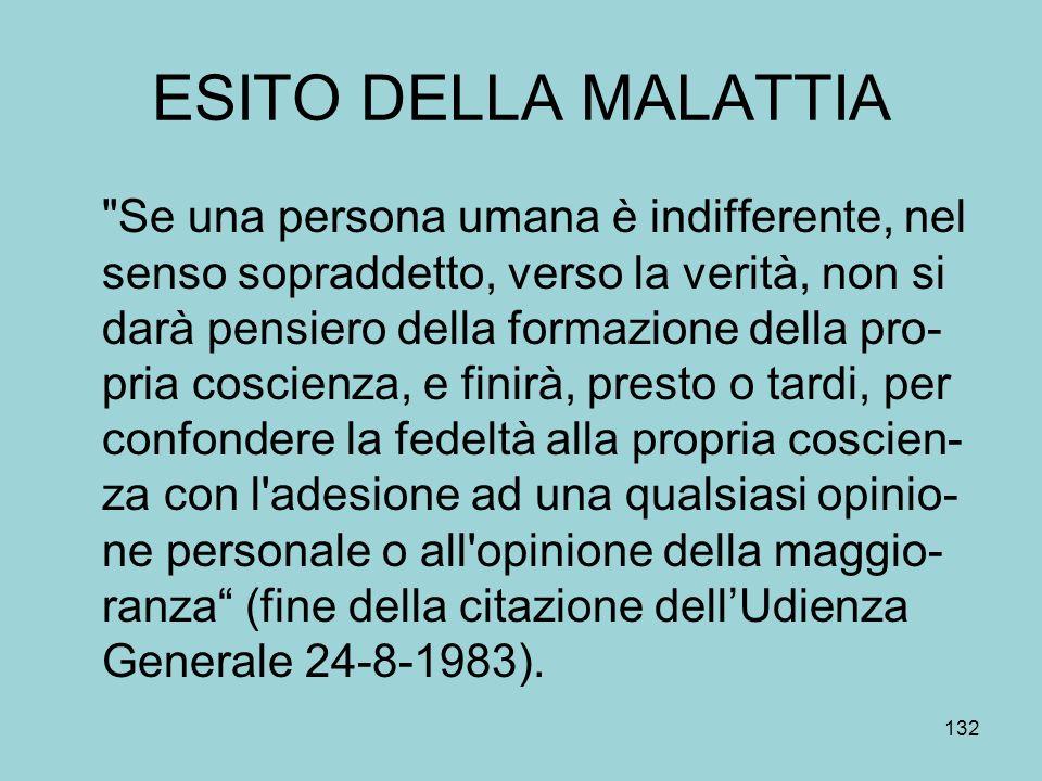 ESITO DELLA MALATTIA