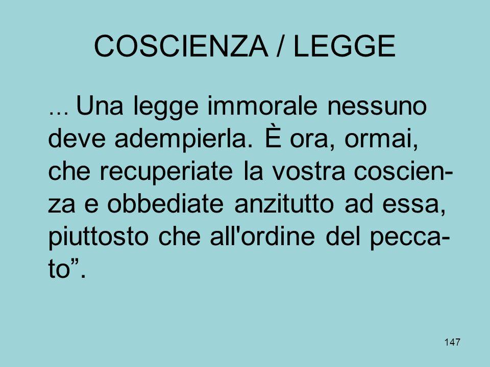 COSCIENZA / LEGGE