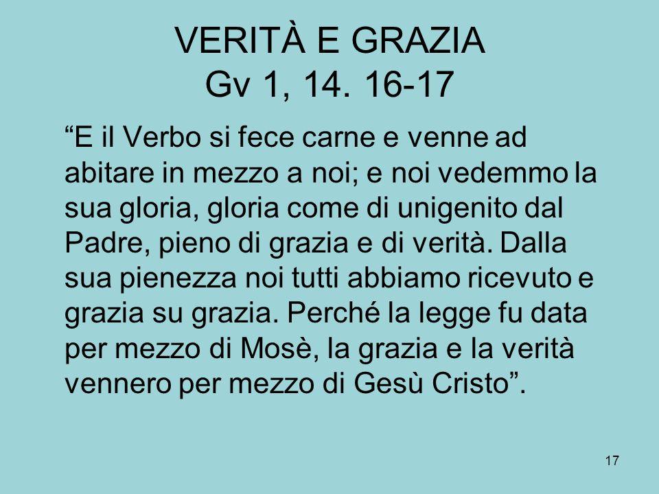 VERITÀ E GRAZIA Gv 1, 14. 16-17