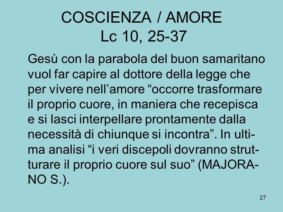 COSCIENZA / AMORE Lc 10, 25-37
