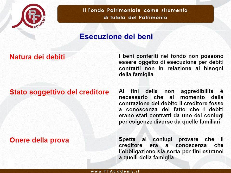 Esecuzione dei beni Natura dei debiti Stato soggettivo del creditore