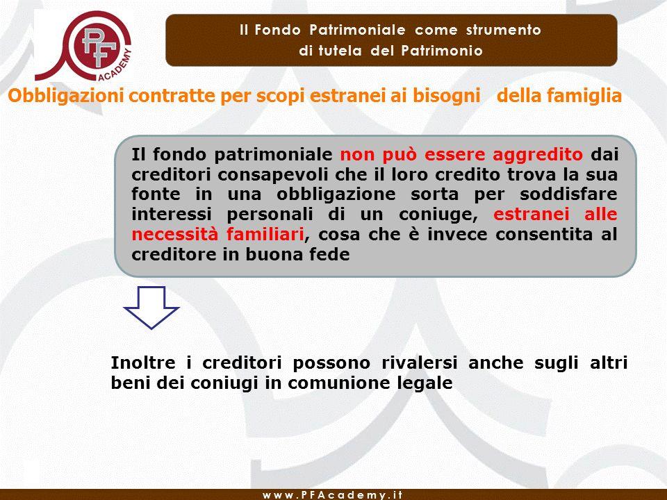 Obbligazioni contratte per scopi estranei ai bisogni della famiglia