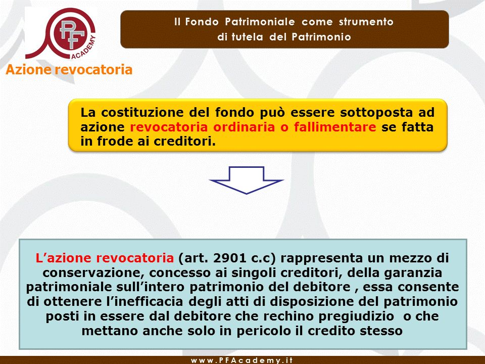 Azione revocatoria La costituzione del fondo può essere sottoposta ad azione revocatoria ordinaria o fallimentare se fatta in frode ai creditori.
