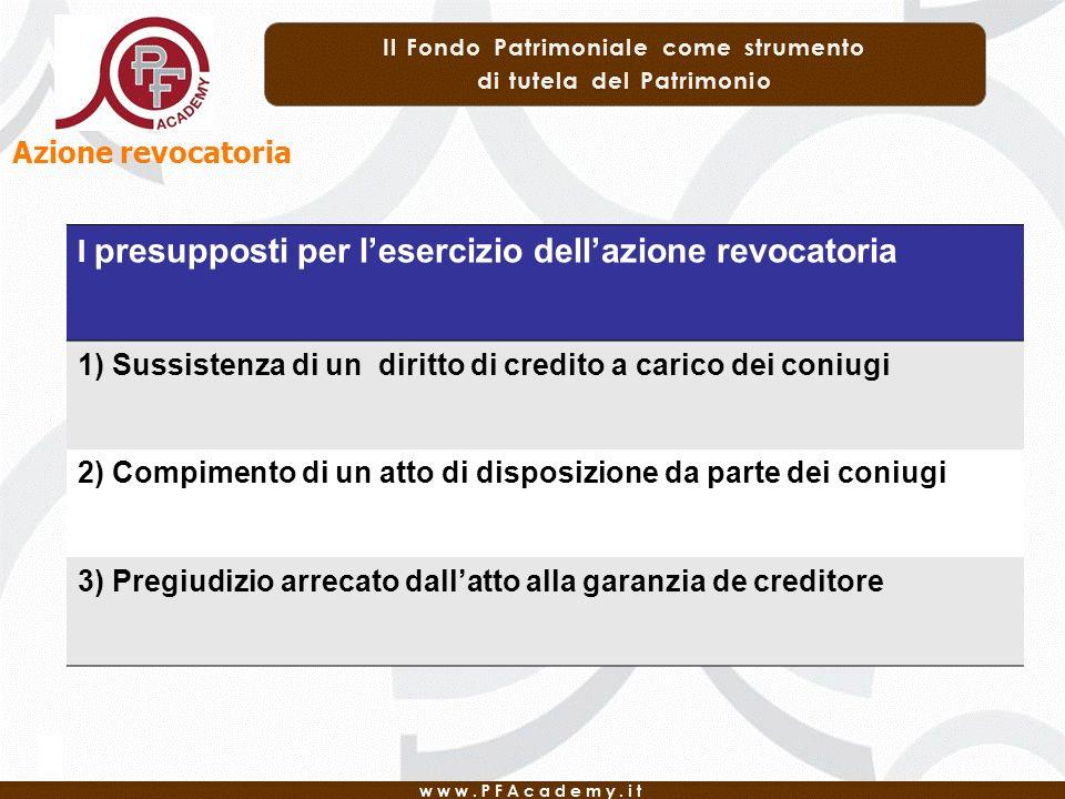 Azione revocatoria I presupposti per l'esercizio dell'azione revocatoria. 1) Sussistenza di un diritto di credito a carico dei coniugi.