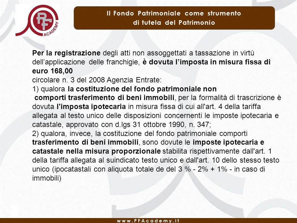 Per la registrazione degli atti non assoggettati a tassazione in virtù dell'applicazione delle franchigie, è dovuta l'imposta in misura fissa di euro 168,00