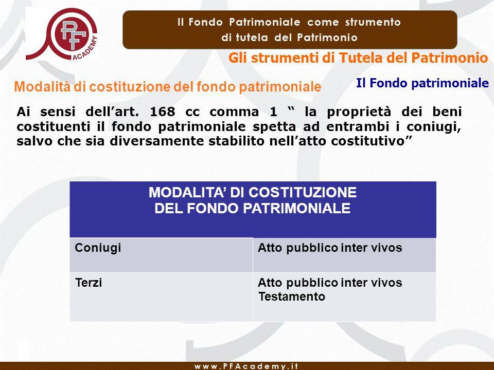 MODALITA' DI COSTITUZIONE DEL FONDO PATRIMONIALE