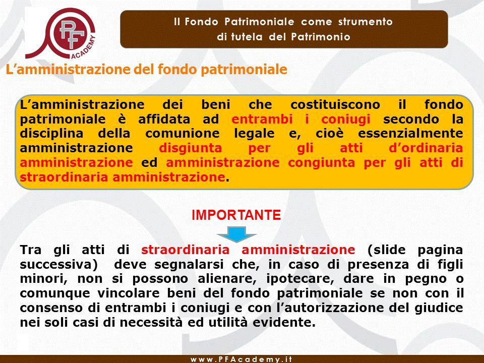 L'amministrazione del fondo patrimoniale