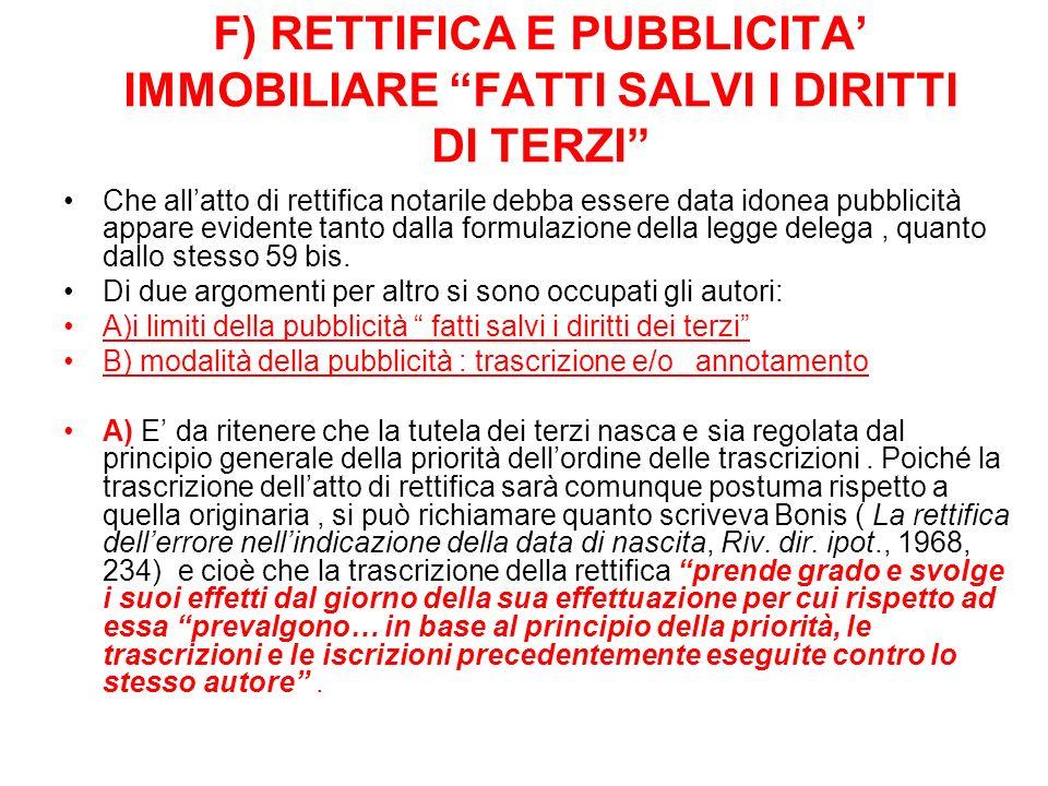 F) RETTIFICA E PUBBLICITA' IMMOBILIARE FATTI SALVI I DIRITTI DI TERZI