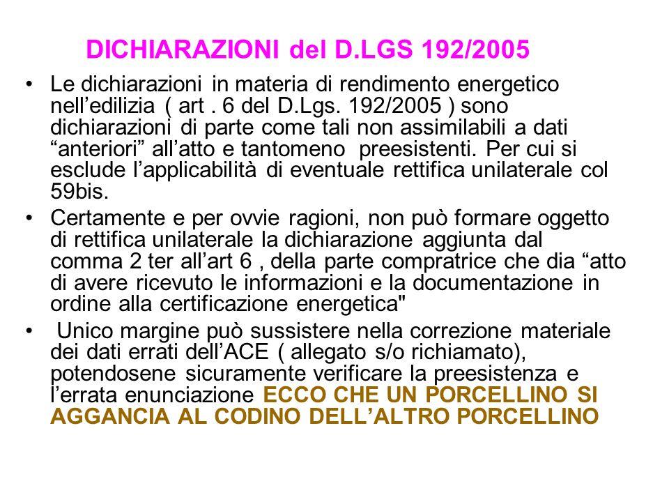 DICHIARAZIONI del D.LGS 192/2005