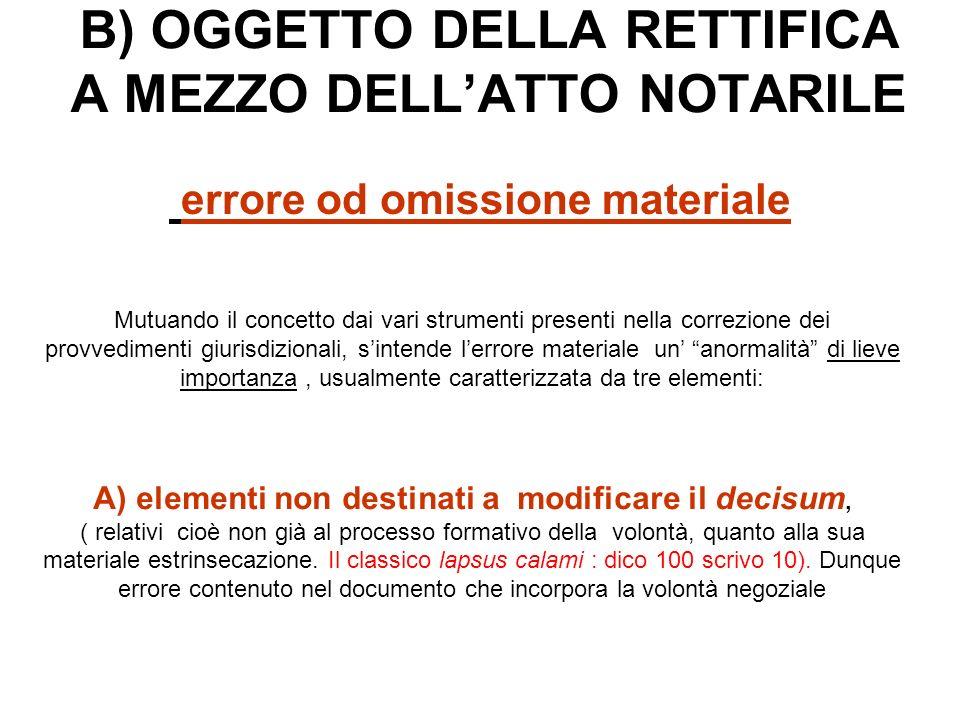 B) OGGETTO DELLA RETTIFICA A MEZZO DELL'ATTO NOTARILE
