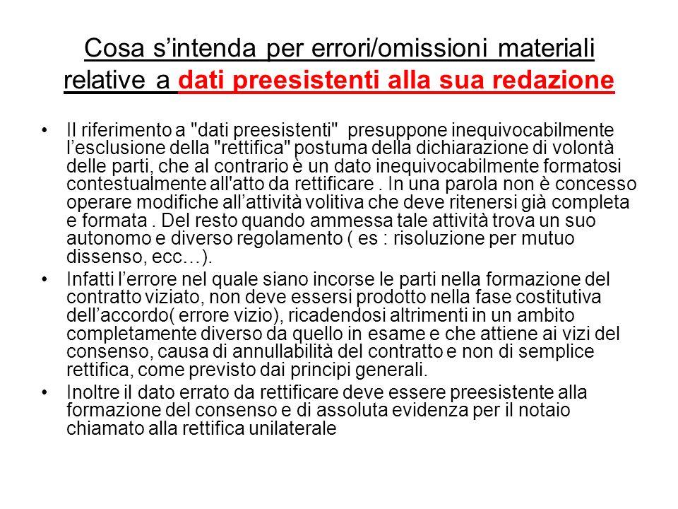 Cosa s'intenda per errori/omissioni materiali relative a dati preesistenti alla sua redazione