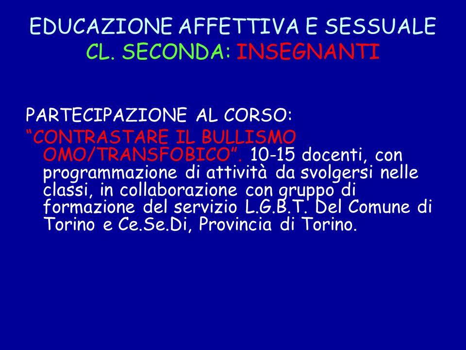 EDUCAZIONE AFFETTIVA E SESSUALE CL. SECONDA: INSEGNANTI