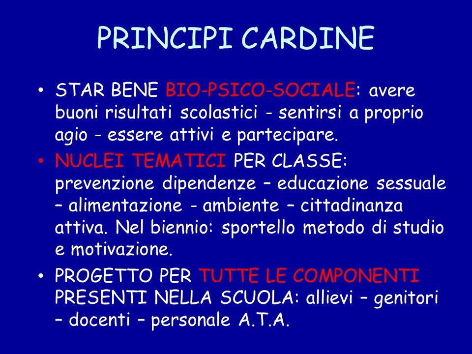 PRINCIPI CARDINE STAR BENE BIO-PSICO-SOCIALE: avere buoni risultati scolastici - sentirsi a proprio agio - essere attivi e partecipare.