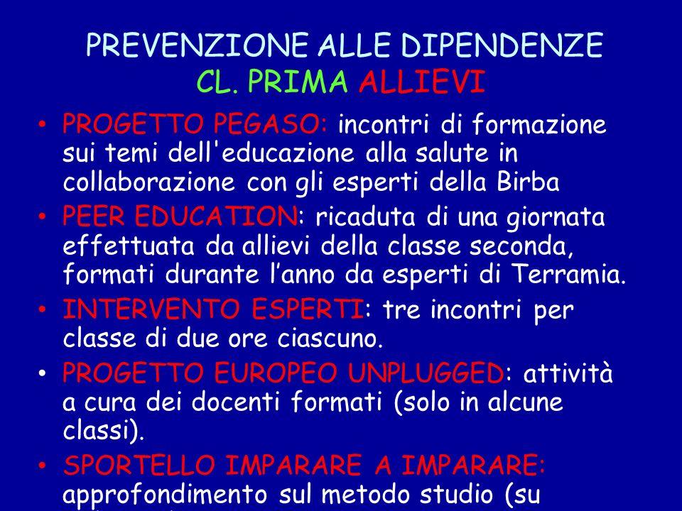 PREVENZIONE ALLE DIPENDENZE CL. PRIMA ALLIEVI