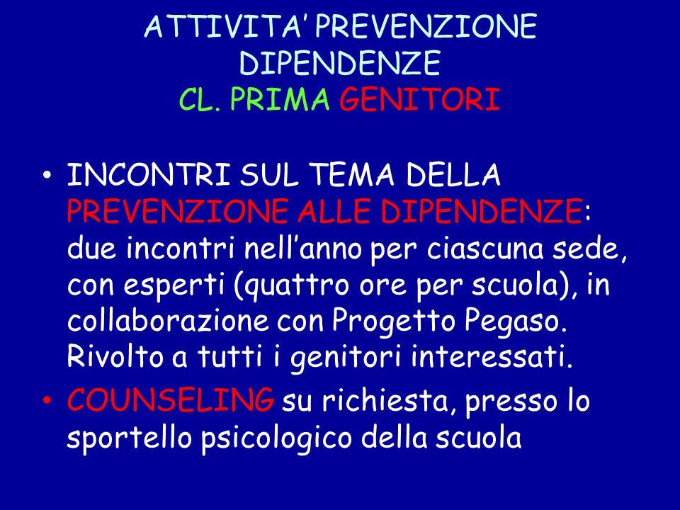 ATTIVITA' PREVENZIONE DIPENDENZE CL. PRIMA GENITORI