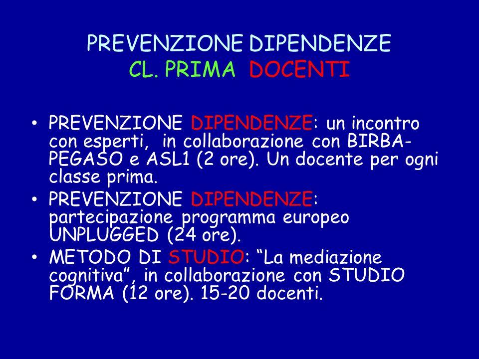 PREVENZIONE DIPENDENZE CL. PRIMA DOCENTI