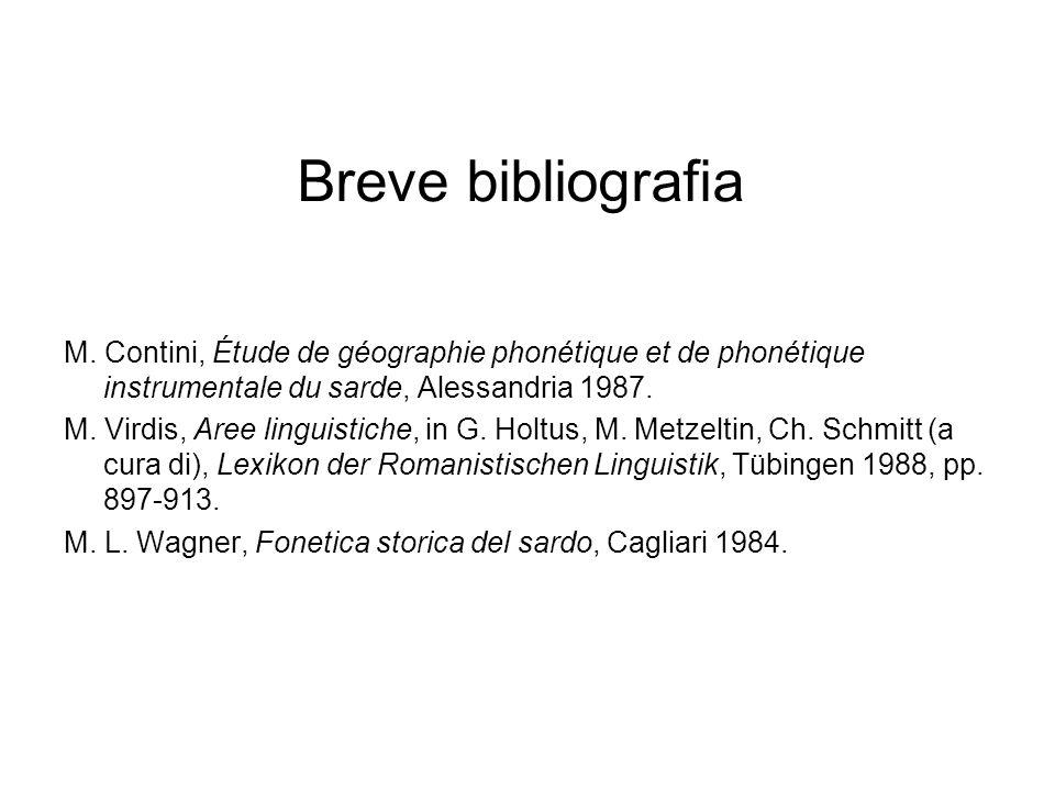 Breve bibliografiaM. Contini, Étude de géographie phonétique et de phonétique instrumentale du sarde, Alessandria 1987.