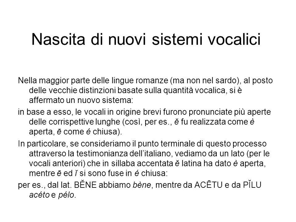 Nascita di nuovi sistemi vocalici