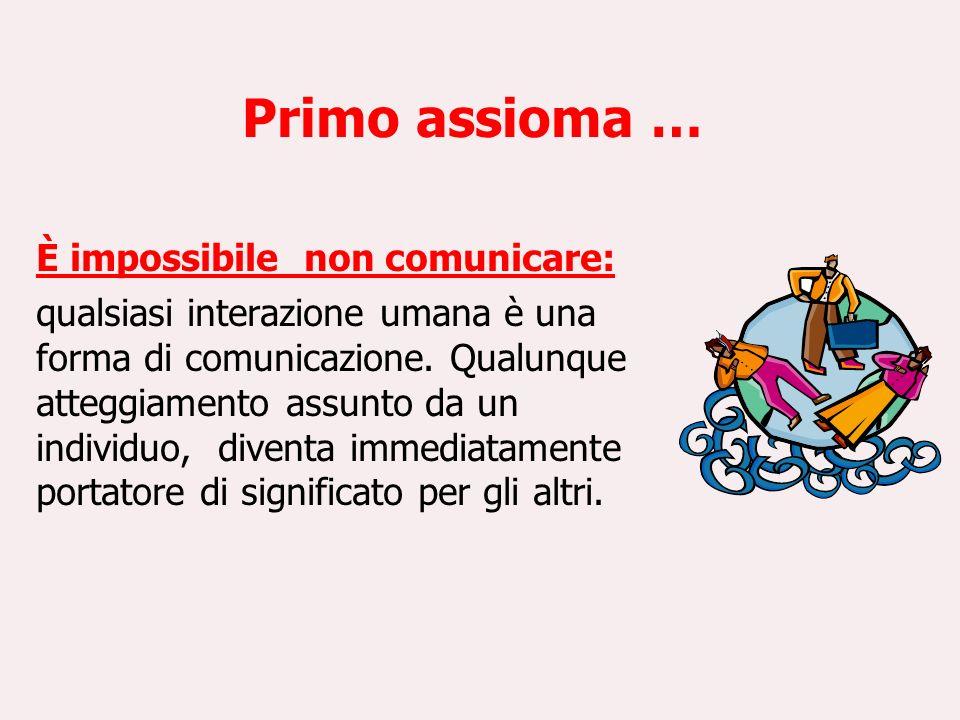Primo assioma … È impossibile non comunicare: