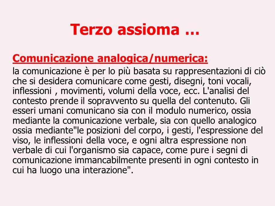 Terzo assioma … Comunicazione analogica/numerica: