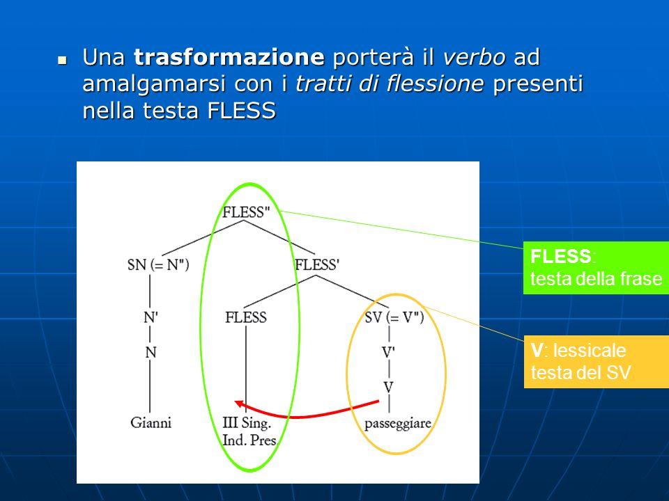 Una trasformazione porterà il verbo ad amalgamarsi con i tratti di flessione presenti nella testa FLESS