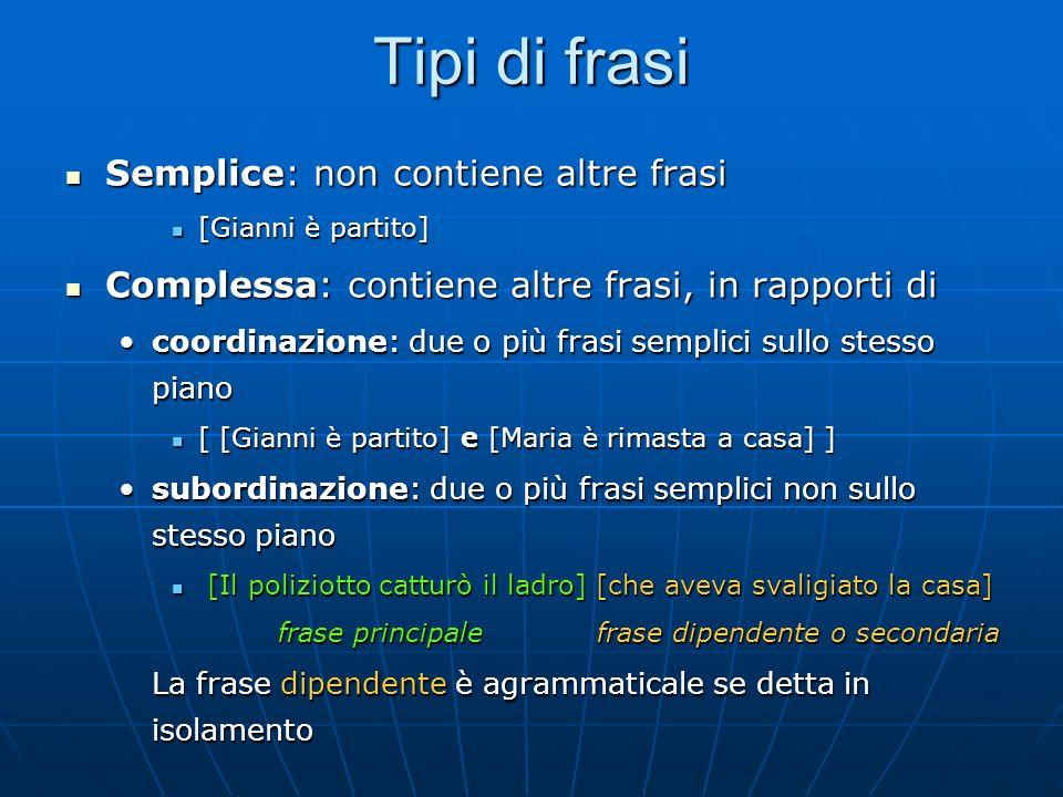 Tipi di frasi Semplice: non contiene altre frasi