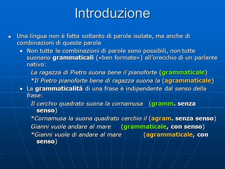 Introduzione Una lingua non è fatta soltanto di parole isolate, ma anche di combinazioni di queste parole.