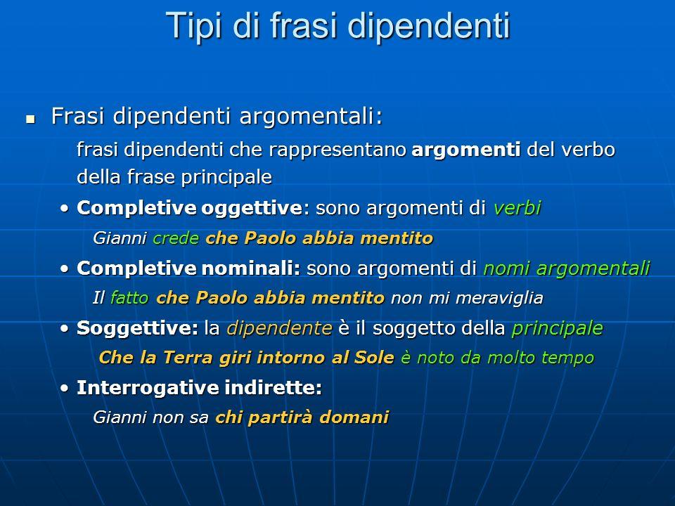 Tipi di frasi dipendenti