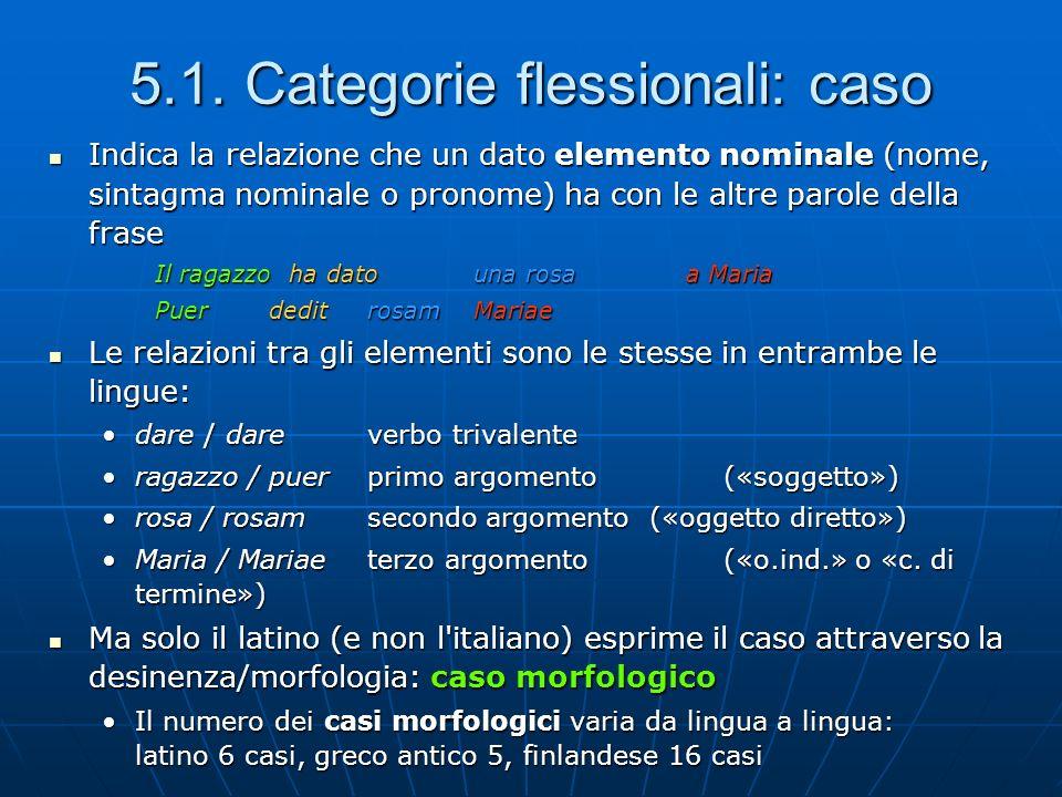 5.1. Categorie flessionali: caso