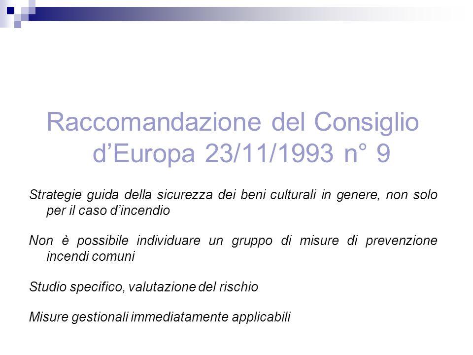 Raccomandazione del Consiglio d'Europa 23/11/1993 n° 9
