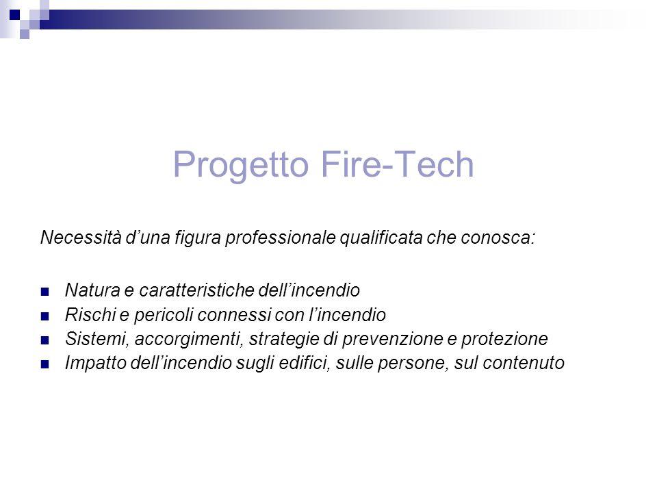 Progetto Fire-Tech Necessità d'una figura professionale qualificata che conosca: Natura e caratteristiche dell'incendio.