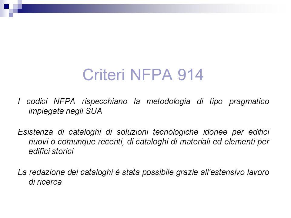 Criteri NFPA 914 I codici NFPA rispecchiano la metodologia di tipo pragmatico impiegata negli SUA.