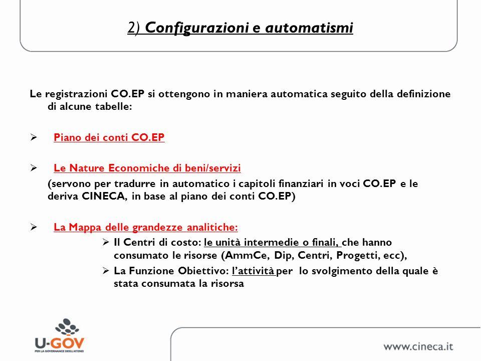 2) Configurazioni e automatismi