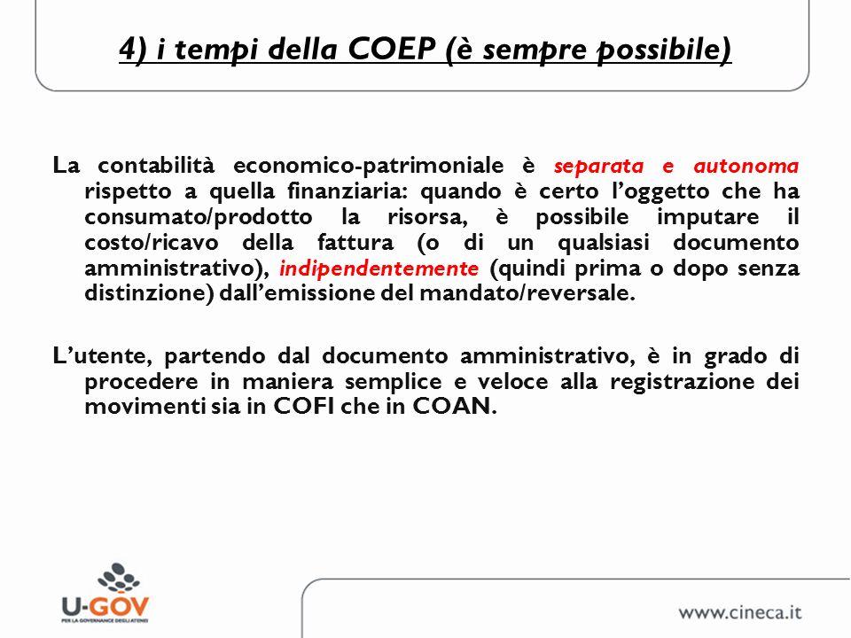 4) i tempi della COEP (è sempre possibile)