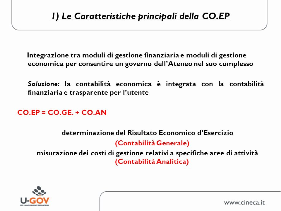 1) Le Caratteristiche principali della CO.EP