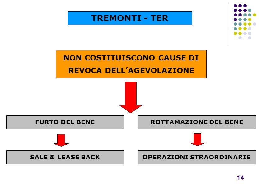 TREMONTI - TER NON COSTITUISCONO CAUSE DI REVOCA DELL'AGEVOLAZIONE 14