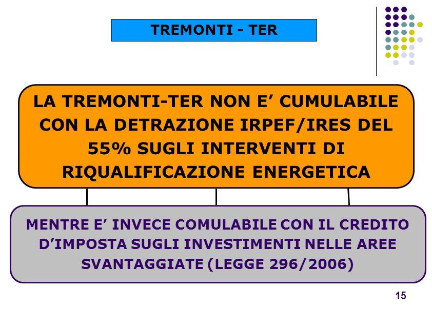 TREMONTI - TER LA TREMONTI-TER NON E' CUMULABILE CON LA DETRAZIONE IRPEF/IRES DEL 55% SUGLI INTERVENTI DI RIQUALIFICAZIONE ENERGETICA.