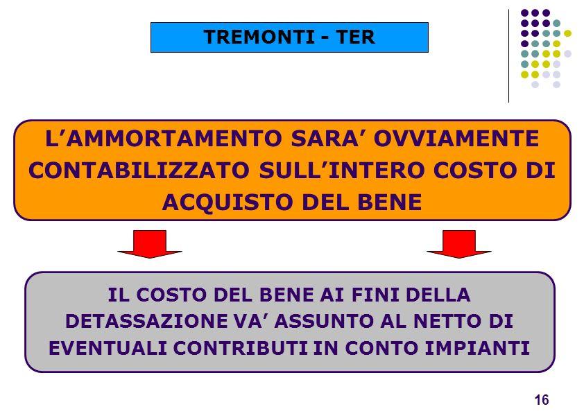 TREMONTI - TER L'AMMORTAMENTO SARA' OVVIAMENTE CONTABILIZZATO SULL'INTERO COSTO DI ACQUISTO DEL BENE.