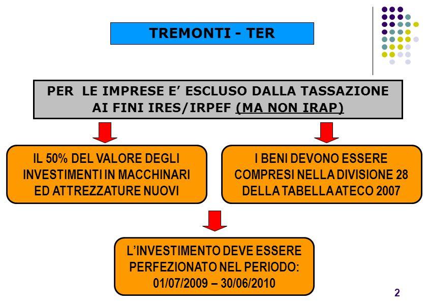 TREMONTI - TER PER LE IMPRESE E' ESCLUSO DALLA TASSAZIONE AI FINI IRES/IRPEF (MA NON IRAP)