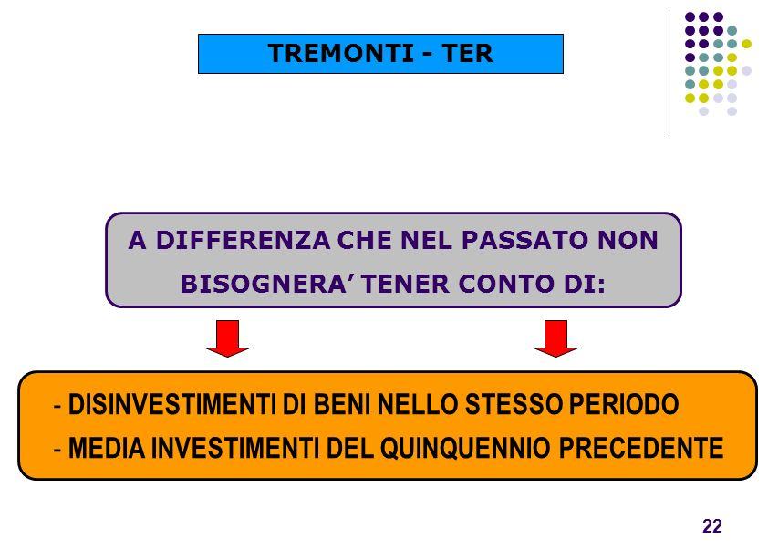 A DIFFERENZA CHE NEL PASSATO NON BISOGNERA' TENER CONTO DI: