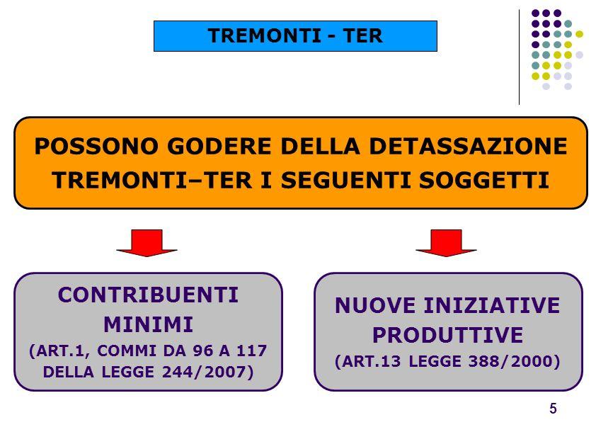 POSSONO GODERE DELLA DETASSAZIONE TREMONTI–TER I SEGUENTI SOGGETTI