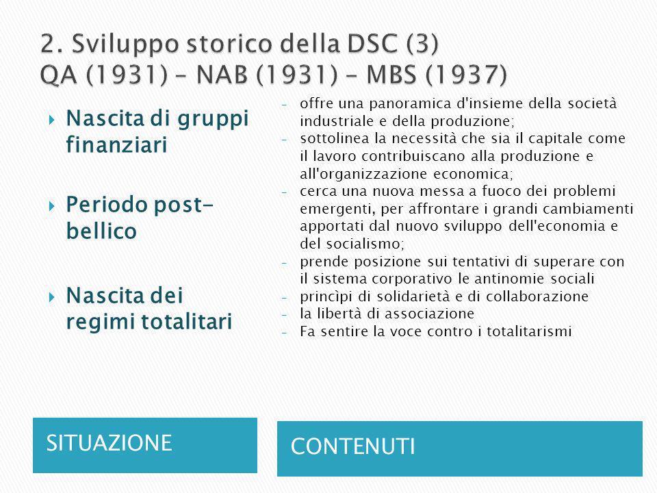 2. Sviluppo storico della DSC (3) QA (1931) – NAB (1931) – MBS (1937)