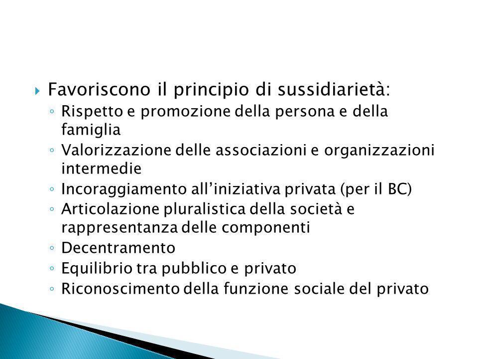 Favoriscono il principio di sussidiarietà: