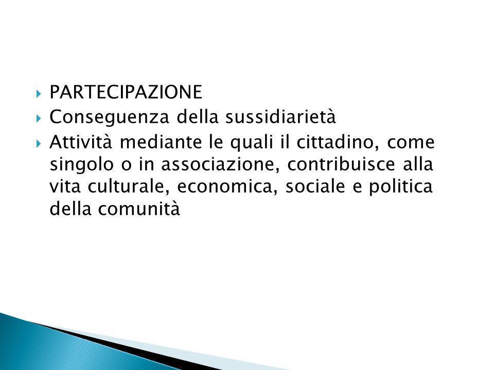 PARTECIPAZIONE Conseguenza della sussidiarietà.