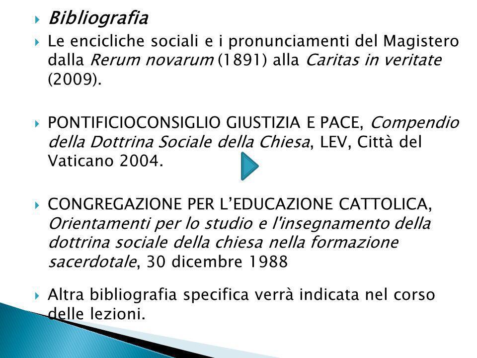 Bibliografia Le encicliche sociali e i pronunciamenti del Magistero dalla Rerum novarum (1891) alla Caritas in veritate (2009).