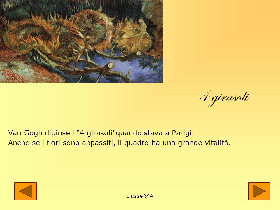 4 girasoli Van Gogh dipinse i 4 girasoli quando stava a Parigi.